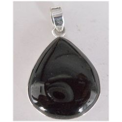 Natural 33.05 ctw Black Onex Pendant .925 Sterling