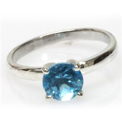 Natural 1.5ctw Blue Topaz Round .925 Sterling Ring