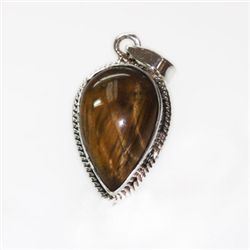Natural 24.87 ctw Tigereye Pendant .925 Sterling Silver