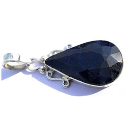 Natural 31.95 ctw Sapphire Pear .925 Sterling Pendant