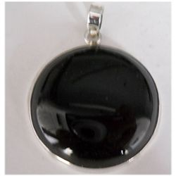 Natural 76.90 ct Black Onex Round Pendant .925 Sterling