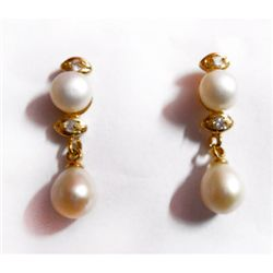 Natural Pearl Round Earrings .925 Sterling w/ Bronze