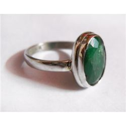 Natural 18.25 ctw Emerald Oval Ring .925 Sterling