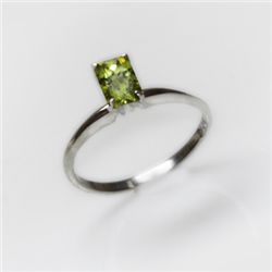 Natural 2.00 ctw Peridot Emerald Cut .925 Sterling Ring