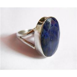 Natural 23.20 ctw Sapphire Oval Ring .925 Sterling