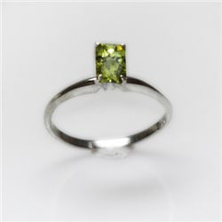 Natural 3.00 ctw Peridot Emerald Cut .925 Sterling Ring