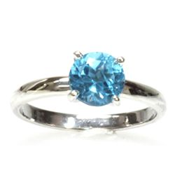 Natural 0.75ctw Blue Topaz Round .925 Sterling Ring