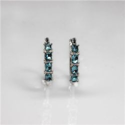 NATURAL 4.00 CTW AQUAMARINE EARRINGS .925 STERLING SILV
