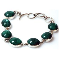 Natural 24.5ctw Emerald .925 Sterling 24.5g Bracelet