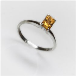 Natural 4.20 ctw Citrine Emerald Cut .925 Sterling Ring