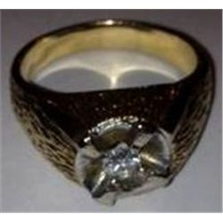 14K MENS GOLD RING W/.40 CT VS DIAMOND, 12.4 GRAMS GOLD
