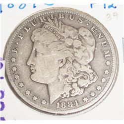 1884-S  F-12  SILVER MORGAN DOLLAR