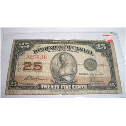 1923 25 CENT DOMINION OF CANADA PAPER CURRENCY
