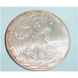 2001 PURE SILVER AMERICAN EAGLE, MS,BU