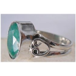 Natural 20.25 ctw Emerald Oval Ring .925 Sterling
