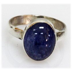 Natural 3.98 g Tanzanite Oval .925 Sterling Silver Ring