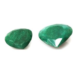 Natural 264.67ctw African Emerald Heart Shape (2) Stone