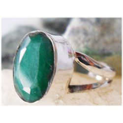 Natural 18.40 ctw Emerald Oval Ring .925 Sterling