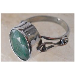 Natural 20.70 ctw Emerald Oval Ring .925 Sterling