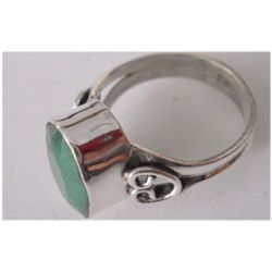 Natural 20.50 ctw Emerald Oval Ring .925 Sterling