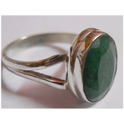 Natural 17.20 ctw Emerald Oval Ring .925 Sterling