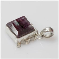Natural 7.10 g Ruby Square .925 Sterling Silver Pendant