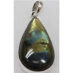 Natural 14g Semi-Precious Pendant .925 Sterling Silver