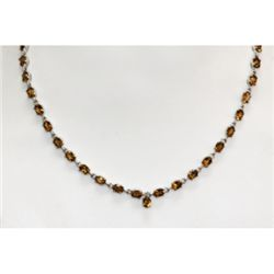 NATURAL 24.00 CTW CITRINE NECKLACE .925 STERLING SILVER