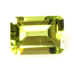 Natural 6.31ctw Peridot Emerald Cut 5x7 (6) Stone