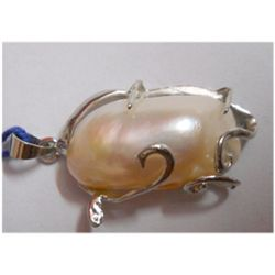 Natural 25.30 ctw Pearl Oval Pendant .925 Sterling