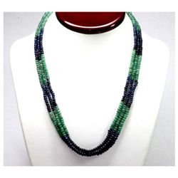 Natural 195.92 ctw Emerald & Sapphire Bead Necklace