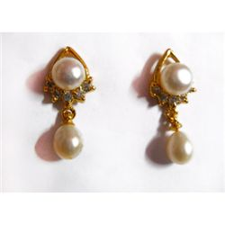 Natural 23.25 ct Pearl Earrings .925 Sterling w/ Bronze