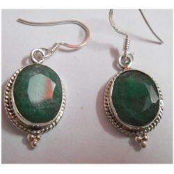 Natural 26.30 ctw Emerald Oval Earring .925 Sterling