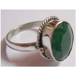 Natural 21.95 ctw Emerald Ring .925 Sterling Silver