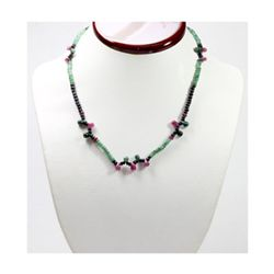 Natural 80.61 ctw Emerald Ruby Sapphire Bead Necklace