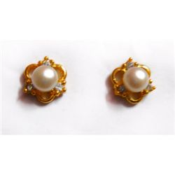 Natural 17.55 ct Pearl Earrings .925 Sterling w/ Bronze