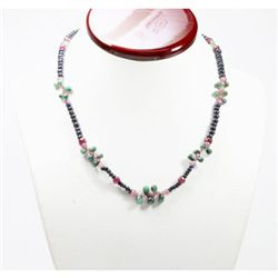 Natural 112.04 ctw Emerald Ruby Sapphire Bead Necklace