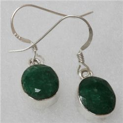 Natural 5.08g Emerald Oval Earrings .925 Sterling