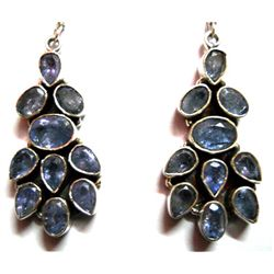 Natural Tanzanite .925 Sterling Silver 13.5g Earrings