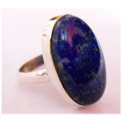Natural 7.98 g Lapis Oval .925 Sterling Silver Ring