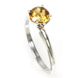 Natural 2ctw Citrine .925 Sterling Silver Ring