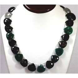 411.19 ctw Nat. Rulite Blk Onyx Emerald Ameth Necklace