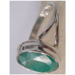 Natural 18.00 ctw Emerald Oval Ring .925 Sterling
