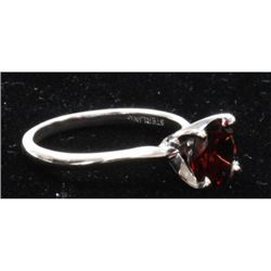 Natural 1.5ctw Garnet .925 Sterling Silver Ring