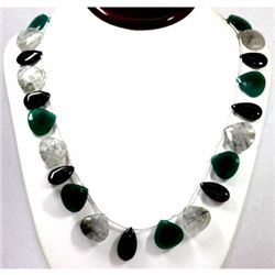 385.60ctw Nat. Blk Laborite Black Onyx Emerald Necklace
