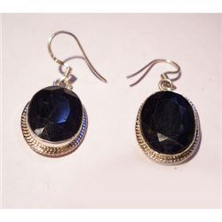 Natural 43.60 ctw Sapphire Oval Earrings .925 Sterling