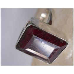 Natural 36.45 ctw Ruby Emeraldcut Ring .925 Sterling