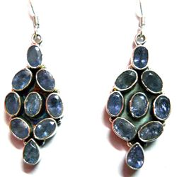 Natural 12g Tanzanite .925 Sterling Silver Earrings