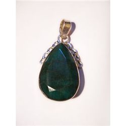 Natural 29.25 ctw Emerald Pear Pendant .925 Sterling