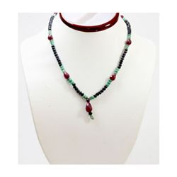 Natural 120.87 ctw Emerald Sapphire Ruby Bead Necklace